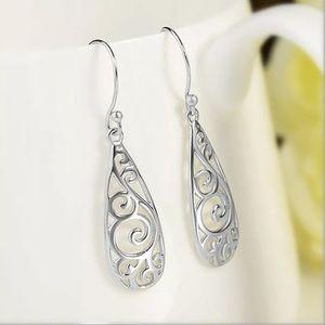 Colleen Filigree Silver Drop Earrings